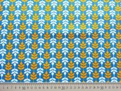 Baumwolle Ranken - hellblau/orange auf blau