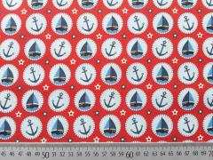 Baumwollstoff Anker Schiffe Seaside Fun Hilco/Buttons Boote, rot