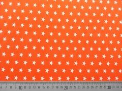 Baumwollstoff Sterne 1 cm weiss auf orange
