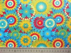 Baumwolle Blumen Waikkiki, türkis/gelb