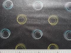beschichtete Baumwolle große Kringel, glitzer schwarz