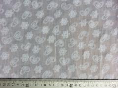RESTSTÜCK 20 cm Baumwoll-Batist Herzen & Blumen, weiss