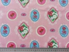 Baumwollstoff Ornamente Blumen-rosa