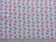Baumwolle Blumen & Zweige, pink hellblau