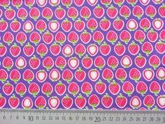 Baumwollstoff Erdbeeren Hamburger Liebe, lila