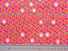 Baumwollstoff Erdbeeren Hamburger Liebe, pink