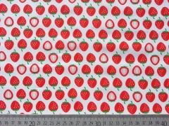 RESTSTÜCK 38 cm Hamburger Liebe Yummy Strawberry Baumwolle, weiss