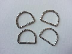 4 D-Ringe Metall silberfarben, 30 mm
