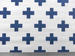 Dekostoff Kreuze, blau auf weiss