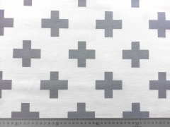Dekostoff Kreuze, grau auf weiss