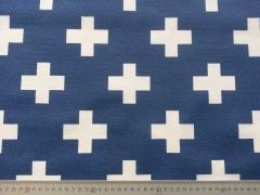 Dekostoff Kreuze, weiss auf blau