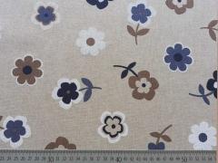 Dekostoff Blumen - blau weiß braun auf natur