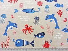 RESTSTÜCK 75 cm Leinenlook Meerestiere - rot blau auf natur