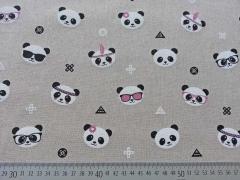 Leinenlook Panda Gesichter, natur/rosa