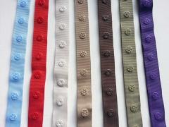 Druckerband-Druckknopfband Abstand 2,5 cm, dunkelrot