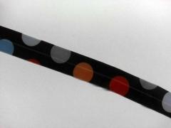 elastisches Falzband, gr. Punkte, bunt / grau