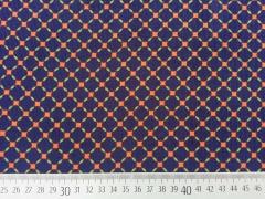 Feincord Gittermuster Rauten, orange auf dunkelblau
