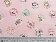 Feincord Button Tiere, rosa