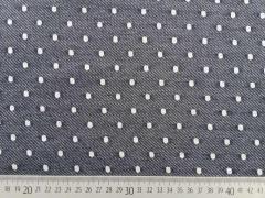 RESTSTÜCK 32 cm French Terry leichter Sweat Punkte, dunkelblau