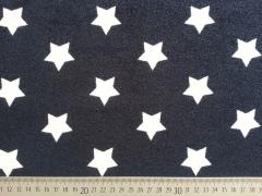 weicher Sweat Frottee mit Sternen 3,3 cm, weiß dunkelblau