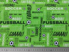 RESTSTÜCK 90 cm Crossing Typo Fußball Baumwolle Hilco - grün