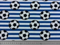 Jersey Fußball Streifen, weiß/mittelblau