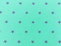 Glattes Bündchen lila Sterne auf mint