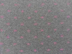 Bündchenstoff Sterne, pink auf dunkelgrau
