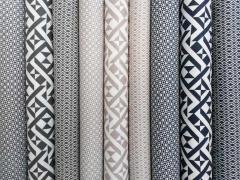 RESTSTÜCK 72 cm Stretchiger BW-Stoff Labyrinth-Muster, dunkeltaupe