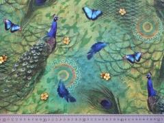 Digitalprint Half Panama Pfau & Schmetterlinge