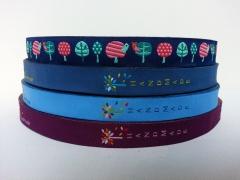 Webband Handmade - Blattwerk, hellblau