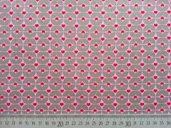 Popelin Herzchen & Rauten,  rot/rosa auf grau