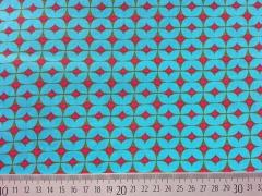 Popelin Herzchen & Rauten, pink auf türkis