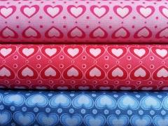 Baumwollstoff rosa Herzen, rot