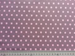 RESTSTÜCK 40 cm Jersey Sterne 1 cm - rosa auf dunklem altrosa