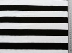 RESTSTÜCK 61 cm Viskosejersey Blockstreifen 4 cm, schwarz/weiss