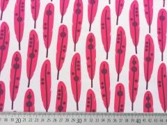 Jersey Federn, pink auf weiss