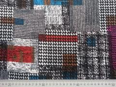 RESTSTÜCK 99 cm Viskosejersey Pepita Patchwork Look, schwarz/Rottöne
