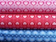 Jersey Herzen hellblau auf jeansblau