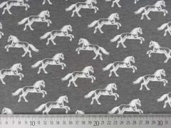 RESTSTÜCK 62 cm Jersey Horse Ride Pferde - grau-melange/weiss
