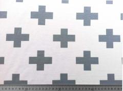 RESTSTÜCK 36 cm Jersey Kreuz , grau auf weiß