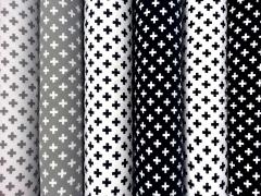 Jersey mit kleinen Kreuzen, grau auf weiss