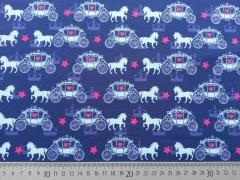 RESTSTÜCK 62 cm Jersey Pferd mit Kutsche & Sternen, mittelblau