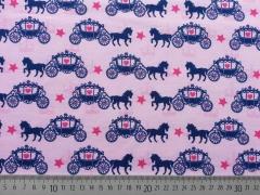RESTSTÜCK 50 cm Jerseystoff Pferd mit Kutsche & Sternen, rosa