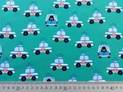 RESTSTÜCK 30 cm Jersey Polizeiautos - kräftiges mint
