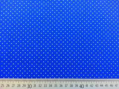 RESTSTÜCK 36 cm Jersey Mini Punkte, weiss auf royalblau