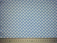 RESTSTÜCK 23 cm Jersey Punkte 0,6cm, weiß auf hellblau