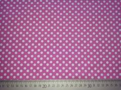 RESTSTÜCK 45 cm Jersey Punkte 0,6cm  - weiß auf pastell-pink (rosa)