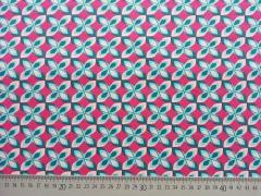 RESTSTÜCK 31 cm Jersey Rädchen-pink türkis, Öko-tex Standard 100