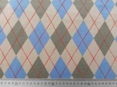 RESTSTÜCK 14 cm French Terry Rautenmuster Englischer Stil, blau/beige
